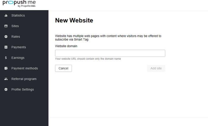 добавляем новый сайт в систему