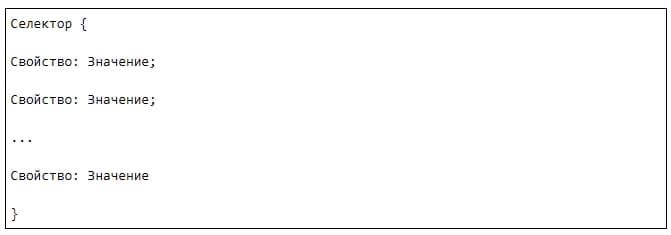синтаксис написания CSS