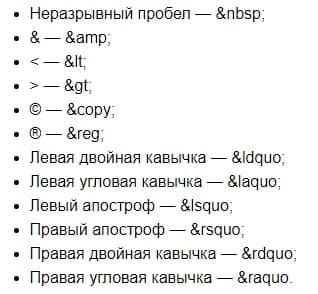 коды часто используемых символов на сайтах