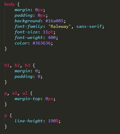Образец несжатого CSS