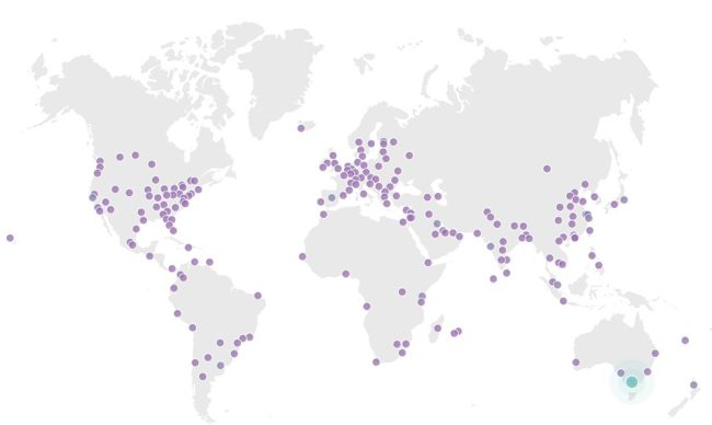 Карта Points of Presence у CDN провайдера