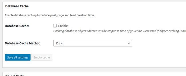 Настройка меню Database Cache