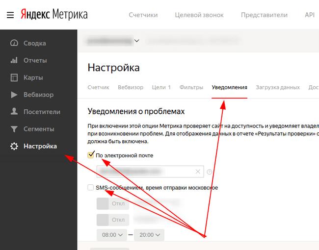 Насторойк Яндекс Метрики для оповещения о нерабочем сайте