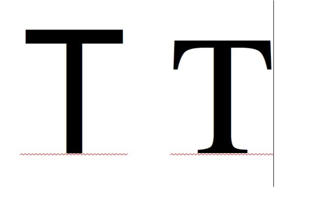 Демонстрация шрифта без засечек и с засечками