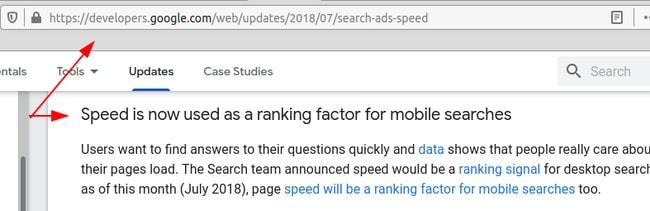 Сообщение Гугл о значимости скорости сайта