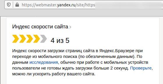 Сообщение с Яндекс Вебмастера, показывающее индекс скорости сайта