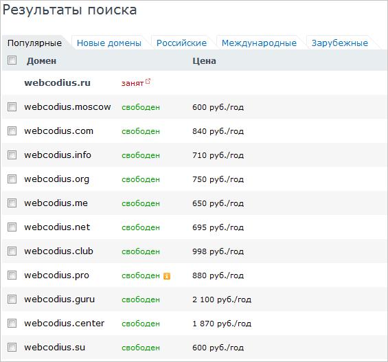 результаты проверки домена на занятость