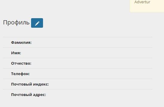 Профиль аккаунта в Advertur